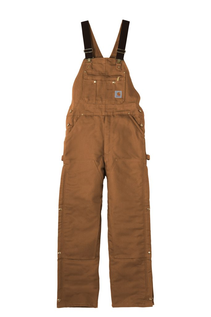 Carhartt ® Duck Quilt-Lined Zip-To-Thigh Bib Overalls